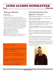 Lund's Alumni Newsletter